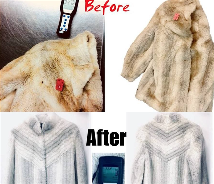 Before and after images showing a soot covered antique fur coat with a meter reading following by images of the coat cleaned
